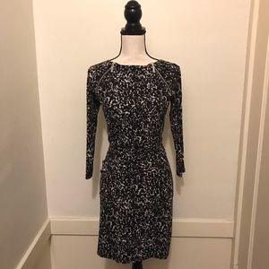 MK Monochrome animal print zip ruched dress